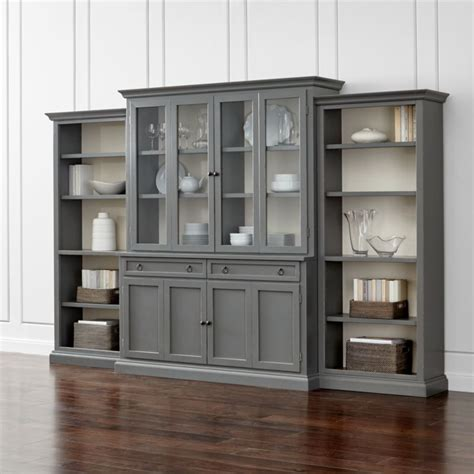large bookcase with glass doors cameo 4 grey glass door wall unit with open