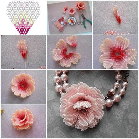 Handmade Craft Flowers - beaded floral necklace pictures photos and images for