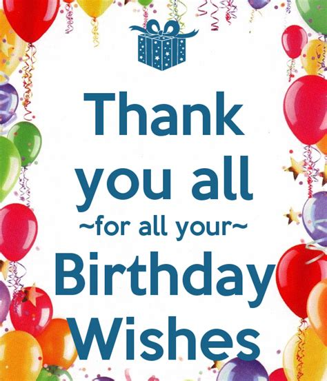 Thank You Card For Birthday Wishes Thank You All For All Your Birthday Wishes Blog