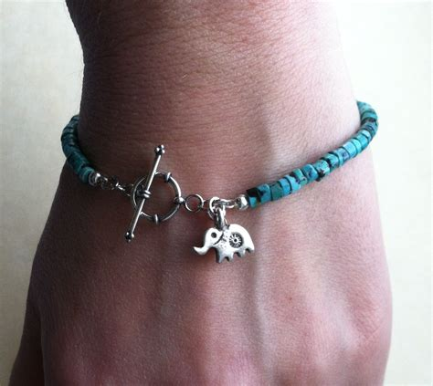 lucky elephant turquoise and sterling silver charm