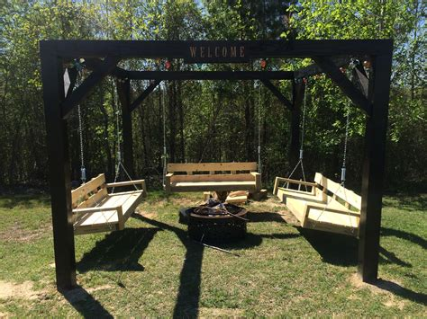 cool outdoor swings ana white fire pit swings diy projects