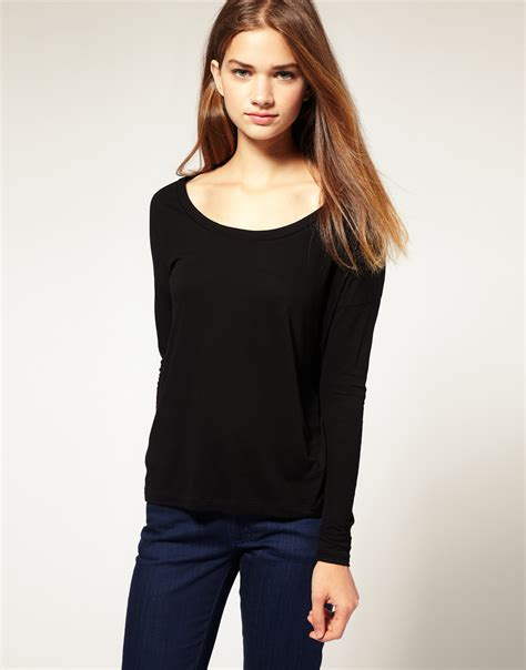 swing tops with sleeves asos collection asos long sleeve swing top in black lyst