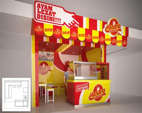 desain gerobak fried chicken sribu booth design desain outlet untuk counter hasana fri