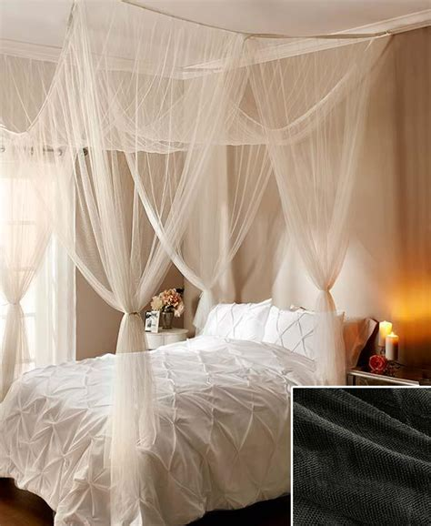 Sheer Bed Canopy New Sheer Bed Canopy Netting Ceiling Or Four Poster Ecru Black White Or Burgundy Ebay