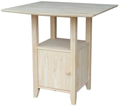 Unfinished Bistro Table Solid Wood 38 W X 36 H Dual Drop Leaf Counter Height Bistro Table With Storage Cabinet