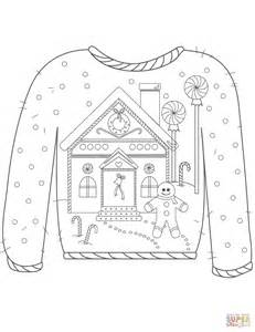 Christmas Ugly Sweater With Gingerbread Man Motif Coloring Sweater Coloring Page