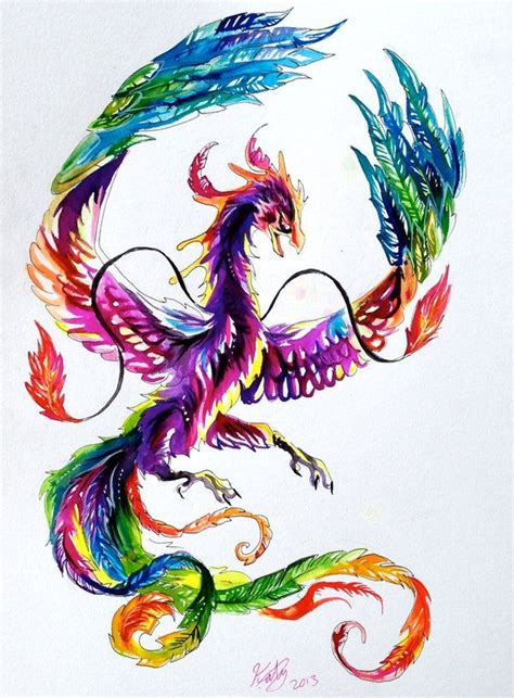 watercolor phoenix tattoo the vibrant colors although again more gold in