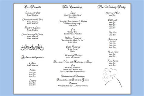 half fold program template half fold wedding programs graduated fold