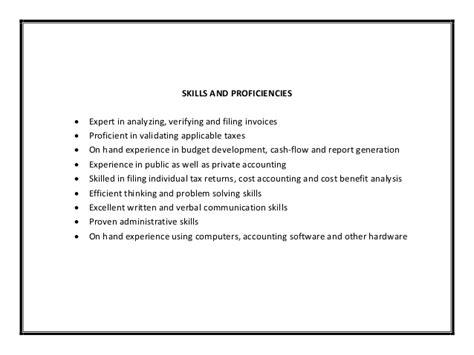 accounting resume sle pdf