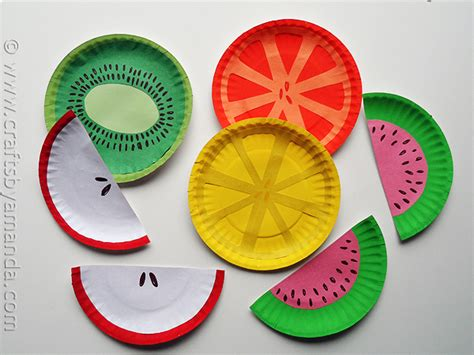 Crafts Using Paper Plates - paper plate fruit crafts by amanda