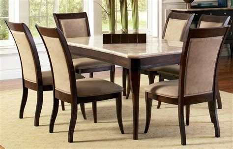 Contemporary Marble Top 8 Piece Dining Table And Chair Set Marble Top Dining Table