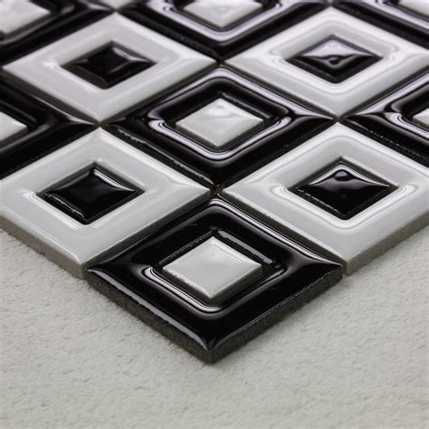 Black And White Ceramic Floor Tile Black And White Porcelain Floor Tile Bathroom Grid Ceramic Mosaic Sheets Bravotti