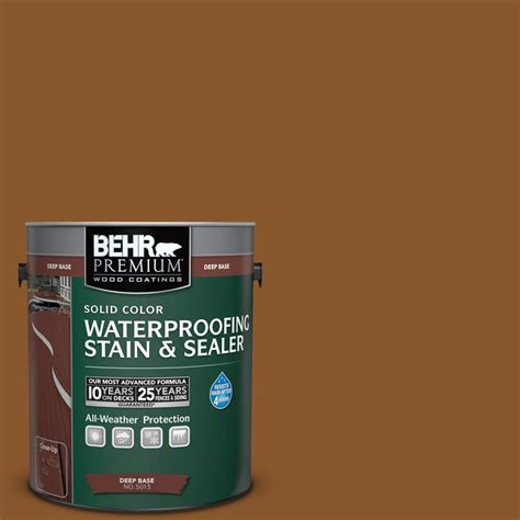 behr premium 1 gal sc 115 antique brass solid color waterproofing stain and sealer 501301
