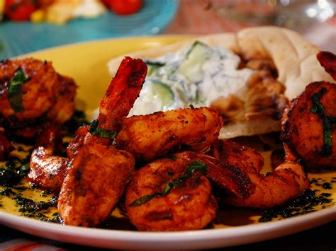 grilled shrimp skewers with cilantro mint chutney recipe bobby flay food network