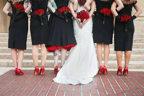 rose themed dress bridal party black bridesmaid dresses red shoes red rose
