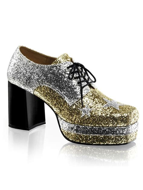 s glam rock silver gold platform shoes glam02sgg