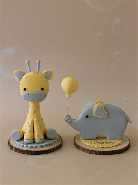 Cake Toppers For Baby Shower Cakes by Giraffe And Elephant Baby Shower Cake Toppers