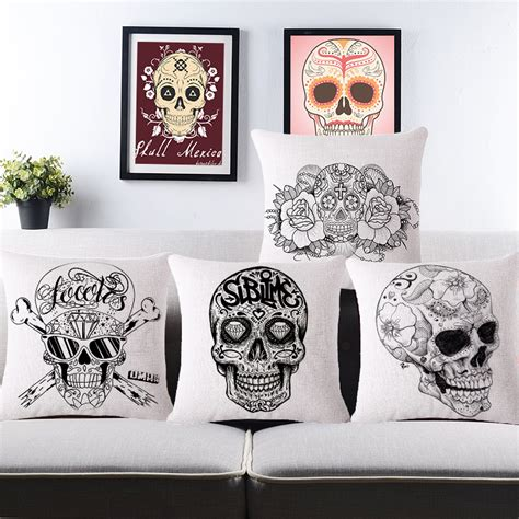 vintage mexican skull cushion covers for sofa home decor