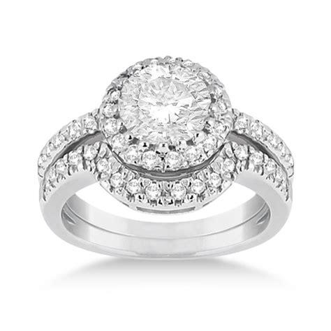 halo engagement ring matching wedding band 14k white