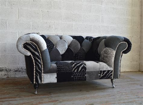 Leather Wing Armchair Monochrome Walton Patchwork Chesterfield Snuggle Chair
