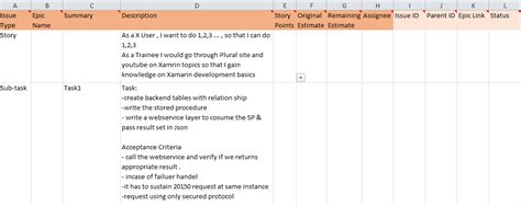 Jira Agile Bulk Upload Of Epic Stories Tasks Using Excel Csv Format Agile Agile Epic Template