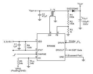photoflash capacitor charger transformer rt9598 mosfet integrated smart photoflash capacitor charger with igbt driver richtek technology