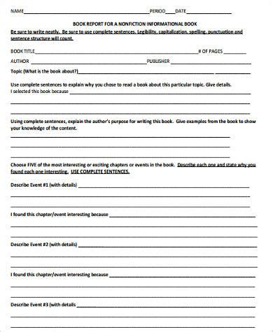 Sle Book Report Forms 9 Free Documents In Word Pdf Nonfiction Book Template