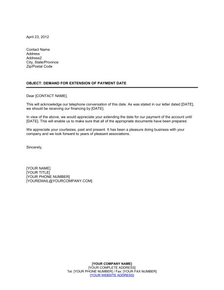 Letter Of Credit For Services Rendered Demand For Extension Of Payment Date Template Sle Form Biztree