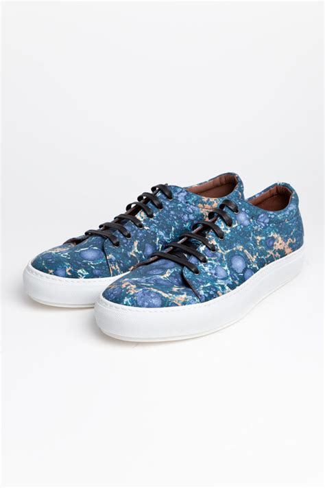 acne sneaker acne adrian sneaker in blue marble sole collector