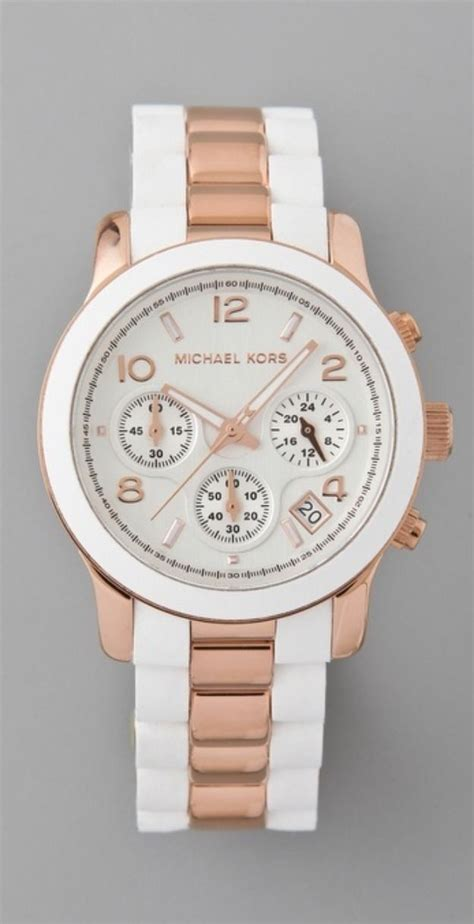 Michael Kors Mk074 Rosegold White michael kors mk5464 runway gold and white chrono silicone on steel style