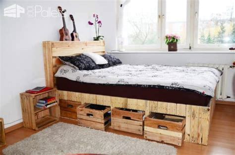 pallet wood king size bed with drawers storage 1001