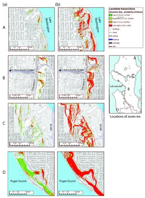 Seattle Fault Map by Seismically Induced Landslide Hazard Map For A Magnitude 7