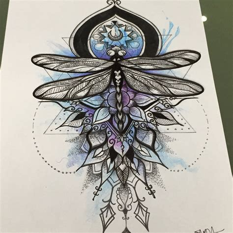 combination tattoo designs amazing dragonfly skizze mandala and watercolor