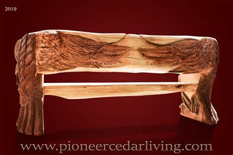 cedar log bench pioneer cedar living western red cedar log bench with spirit eagle carvings pioneer cedar living