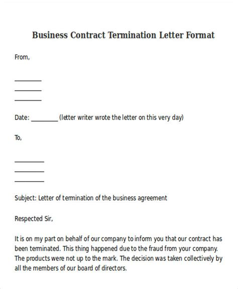 cancellation letter business contract termination letter format templates free premium templates