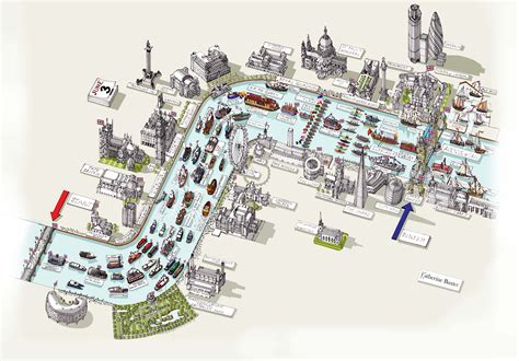 map of river thames central london katherine baxter illustrator map of london river thames
