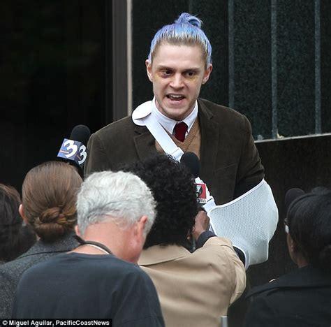 evan peters eye color evan peters sports blue hair and black eye as he ahs