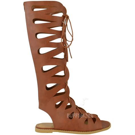high laced sandals womens flat knee high gladiator strappy sandals