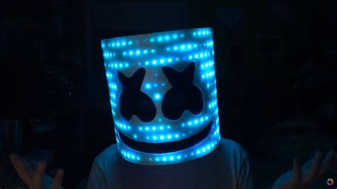 Dj Marshmellow Topeng marshmello v2 helmet with leds