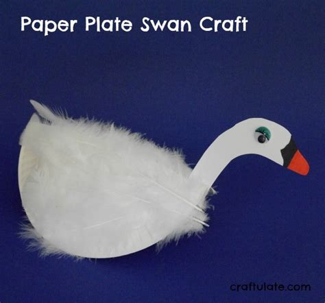 Paper Plate Seagull Craft - paper plate swan craft craftulate
