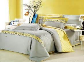 King Size Yellow Bedding Sets Modern Island Vacation Gray And Yellow 4pcs Hotel