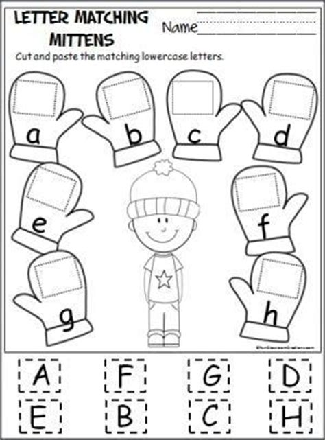 up letter to winter alphabet matching cut and paste worksheet search
