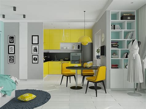 Yellow Studio by 4 Small Beautiful Apartments 50 Square Meters