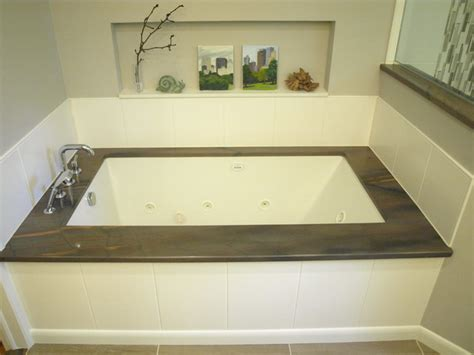 undermount bathtub under mount tub elegant brown transitional bathroom