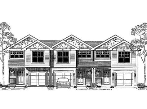 multi family house plans triplex narrow lot triplex with front loading garages hwbdo66518