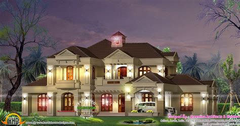 French Country Style House Plans Five Bedroom Villa Exterior Kerala Home Design And Floor