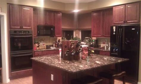 Creating A Stylish Kitchen Look Using Kitchen Pain Colors Cherry Color Kitchen Cabinets