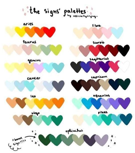 zodiac signs colors image result for zodiac sign color palette artist tips
