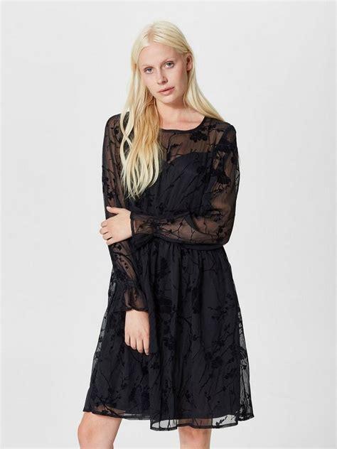 selected femme spitzen kleid mit langen aermeln otto