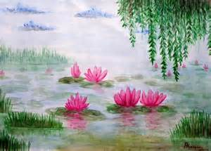 Lotus Pond Lotus Pond Painting By Praveen Chenna